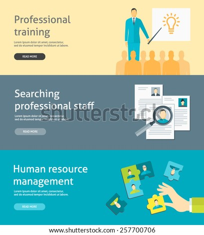Flat design vector illustration concepts for human resource management, searching and selecting employees, recruitment, professional training for web banners and headers - stock vector