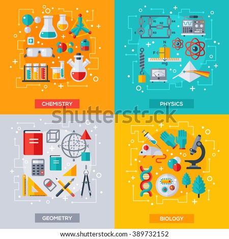 Flat design vector illustration concepts of education and science. Square banners with science symbols. Concepts for web banners and promotional materials. Chemistry, Biology, Physics, Geometry. - stock vector