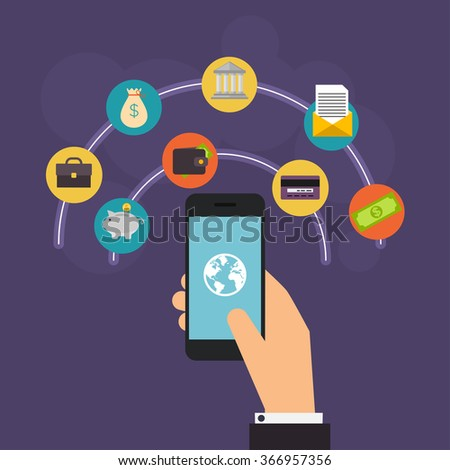 Flat design vector illustration concepts of online payment methods. Internet banking, online purchasing and transaction, electronic funds transfers and bank wire transfer. - stock vector