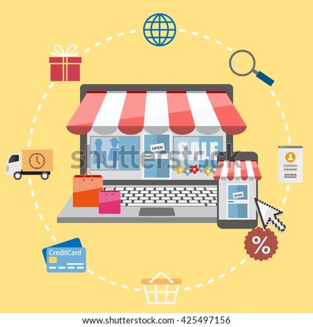 Flat design vector illustration e-commerce and online shopping icons