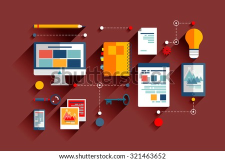 Flat design vector illustration icons set of infographic concept strategy in business, trend social media. The relationship and communication through technology, the transmission of ideas on the web.