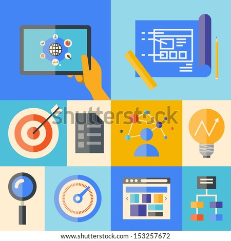 Flat design vector illustration icons set of website creating development process, web application elements and objects in stylish colors.  Isolated on colored background - stock vector