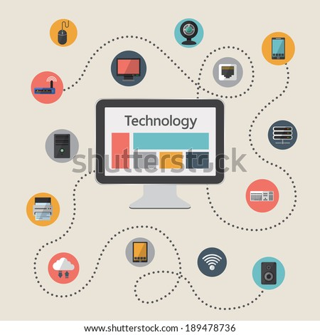 Flat design vector illustration infographic concept of computer and connected mobile devices with  data storage and cloud computing service - stock vector