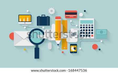 Flat design vector illustration infographic concept with icons set of modern business working elements, finance paperwork objects and financial planning for development business project.  - stock vector