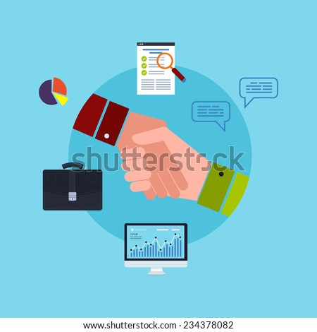 Flat design vector illustration infographic concept with icons set of modern business working elements, business consulting, partnership, finance paperwork objects and financial planning. - stock vector