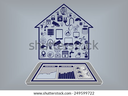 Flat design vector illustration of a smart home automation infographic. Control smart home system with smart phone or tablet via information dashboard - stock vector
