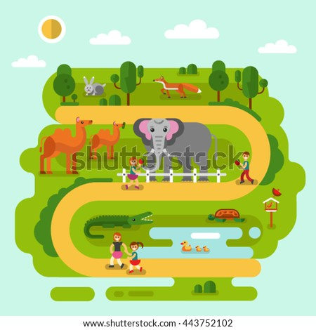 Flat design vector illustration of animals in the Zoo. Elephant, fox, Bactrian camel, rabbit, turtle, crocodile, majestic birds. Happy kids walking and feed animals. Zoo infographics concept. - stock vector