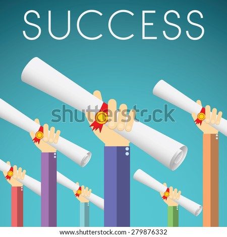 Flat design vector illustration of hands holding Diploma, Degree Scroll with Red Ribbon. Concept for graduation success, on color background. - stock vector