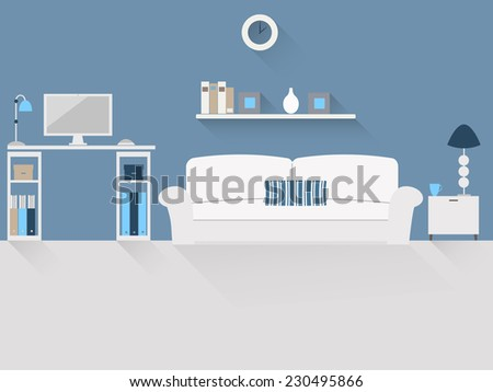Flat design vector illustration of house office with long shadows. - stock vector