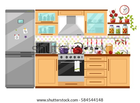 Marvelous Flat Design Vector Illustration Of Kitchen Interior With Utensils, Food And  Devices. Including Icons
