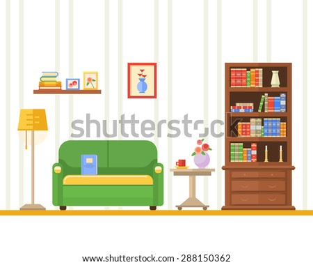 Flat design vector illustration of living room with furniture.  - stock vector