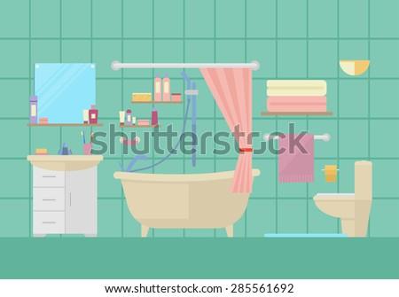 Flat design vector illustration of modern bathroom interior with furniture - stock vector