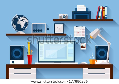 Flat design vector illustration of modern creative office workspace with computer. The office of a creative worker. Flat minimalistic style and color with long shadows. - stock vector
