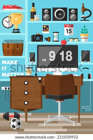 Flat design vector illustration of modern creative office workspace,workplace with computer. Creative worker. Icons of business work flow items and elements, office things, equipment, objects - stock vector