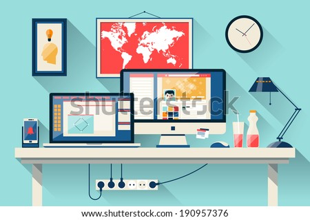 Flat design vector illustration of modern creative office workspace,workplace with computer. The office of a creative worker. Flat minimalistic style and color with long shadows. - stock vector
