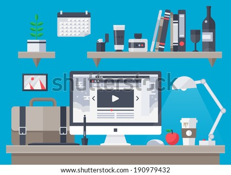 Flat design vector illustration of modern creative office workspace, worplace with computer. The office of a creative worker. Flat minimalistic style and color with long shadows. Office interior.  - stock vector