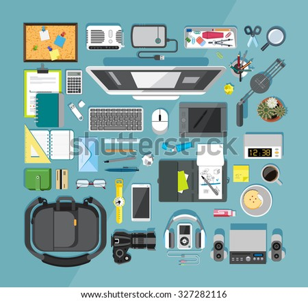 Flat design vector illustration of modern items for school and business - stock vector