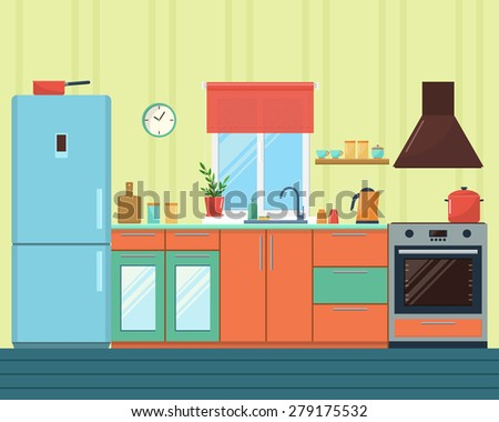 Flat design vector illustration of modern kitchen with furniture - stock vector