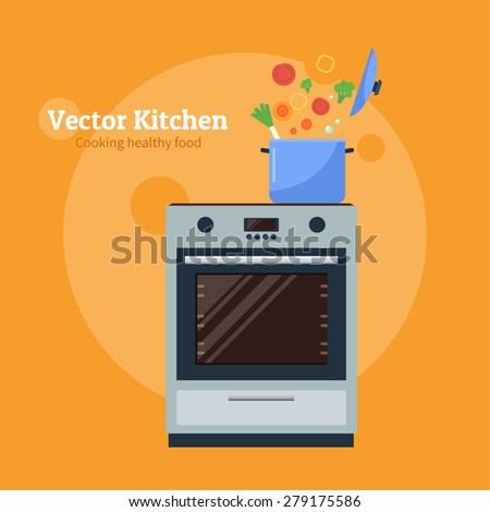Flat design vector illustration of modern stove with a pan. Cooking infographics. - stock vector