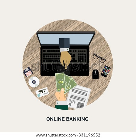 Flat design vector illustration of online banking. Human hands and money in the computer monitor - stock vector