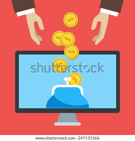 Flat design vector illustration of online banking. Human hands and wallet in the computer monitor - stock vector
