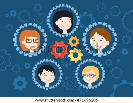 Flat  design vector illustration of personnel management. Human resource concept