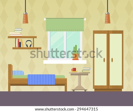 Flat Design Vector Illustration Room Interior Stock Vector 294647315 Shutterstock - Bedroom Interior Design Vector 02 Free Download