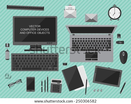 Flat design vector illustration of workplace with computer devices, office objects and business  documents - stock vector