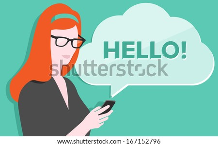 Flat design vector illustration of young beautiful woman holding modern mobile phone and showing a process of communication via sms texting. Isolated on stylish colored background. - stock vector