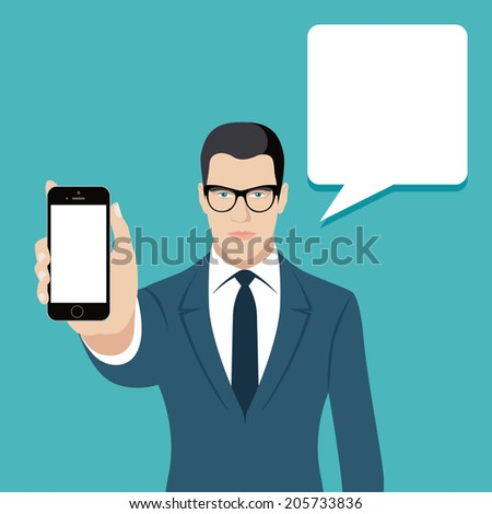 Flat design vector illustration of young businessman holding smartphone showing information with speech bubble isolated on stylish bright background - stock vector