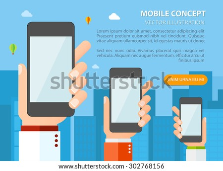 Flat design vector illustration template for mobile phones concept - stock vector