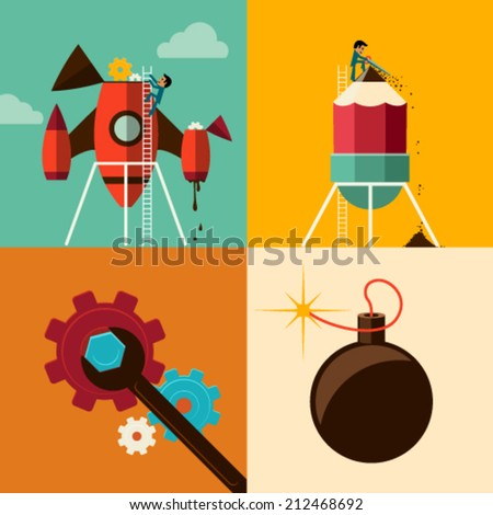 Flat Design Vector Illustration Web Concept of New Business Project Growth and Start up Development and Launch a Innovation to success. Graphic Design Editable For Your Design.  - stock vector