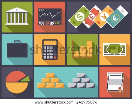 Flat design vector illustration with various financial and banking business icons - stock vector