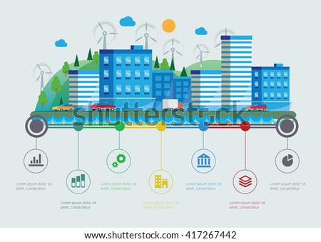 Flat design vector info graphic illustration with urban landscape - stock vector