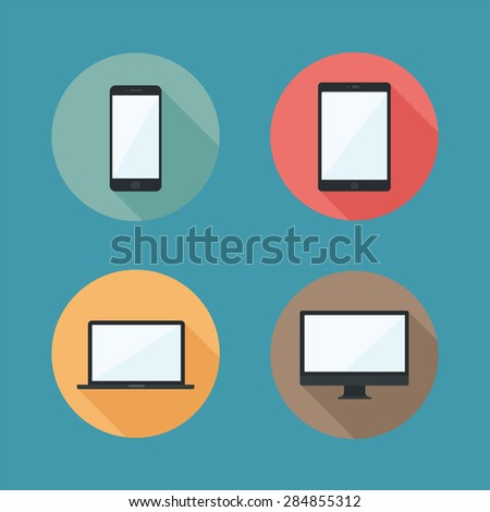 Flat design vector laptop, tablet computer, monitor and mobile phone icons, EPS10 - stock vector