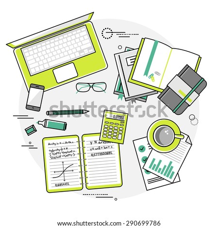 Flat design vector linear illustration concepts of education and online learning. Top view. Concepts for web banners and printed materials with hands, laptop, computer,  phone, book, calculator etc. - stock vector