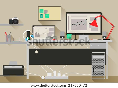 Flat design vector modern office interior, Eps 10 - stock vector