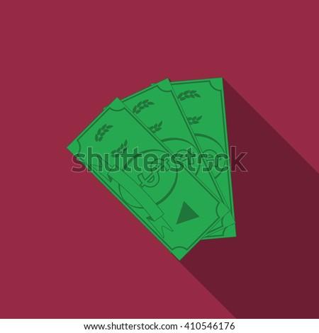 Flat design vector money icon with long shadow. - stock vector