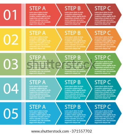 Flat design. Vector process arrows boxes. Step by step set. Three steps.  - stock vector