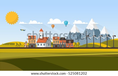 Flat Design Village Abstract Landscape. Vector Illustration.