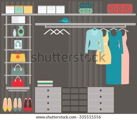 Flat Design walk in closet, interior design, Clothing store, Boutique indoor, conceptual Vector illustration. - stock vector