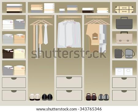 Flat Design walk in closet, interior design, Clothing store, Boutique indoor of men's cloths., conceptual Vector illustration. - stock vector