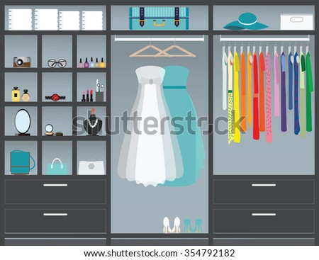 Flat Design walk in closet, interior design, Clothing store, Boutique indoor with cosmetics, woman fashion conceptual Vector illustration.  - stock vector