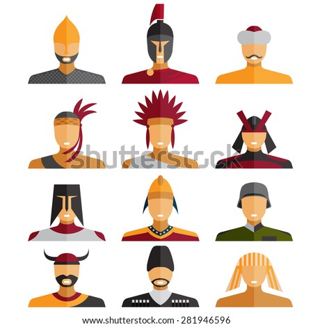 flat design warriors of different epochs and countries - stock vector