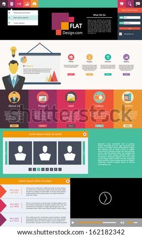 Flat Design web elements / Website template - stock vector