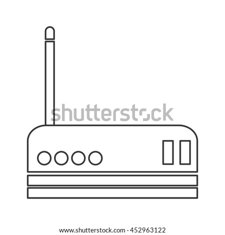 flat design wifi router icon vector illustration - stock vector