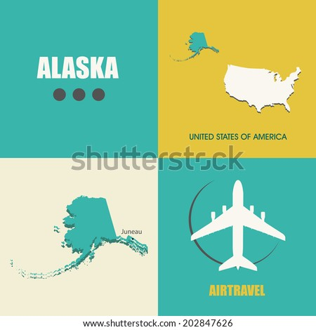 flat design with map Alaska concept for air travel - stock vector