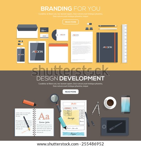 Flat designed banners for Branding for you and Design development. Vector - stock vector