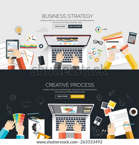 Flat designed banners for Business strategy and Creative process. Vector - stock vector