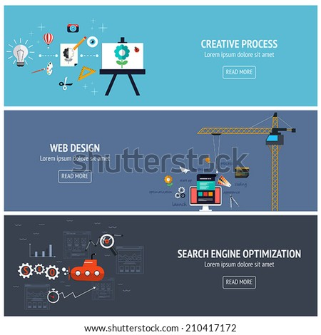 Flat designed banners for creative process, web design andsearch engine optimatization. Vector - stock vector